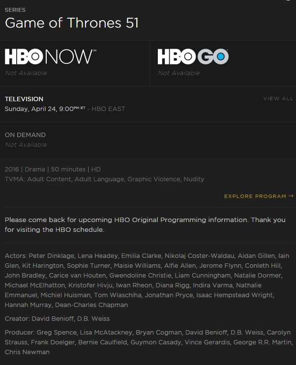 programmation HBO